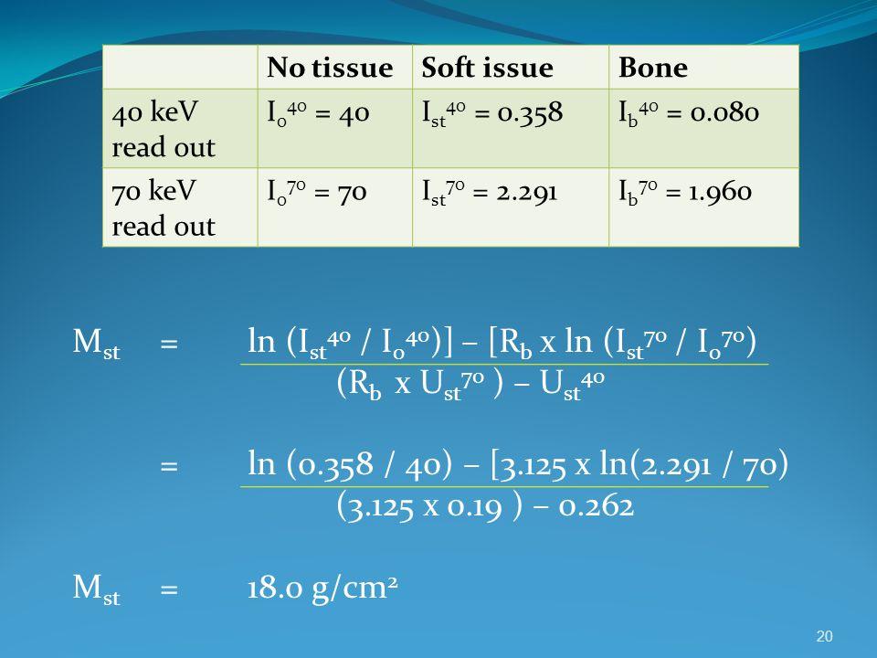 Mst = ln (Ist40 / I040)] – [Rb x ln (Ist70 / I070)